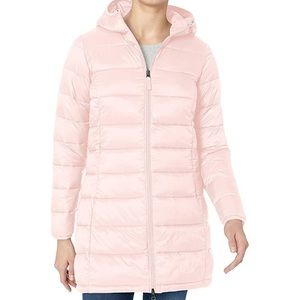Amazon Essentials Packable long pink puffer coat